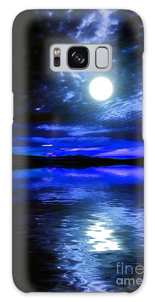 Supermoon Over Lake 2 Galaxy Case