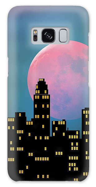 Supermoon Over The City Galaxy Case