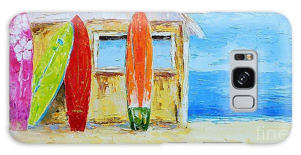 Surf Board Rental Shack At The Beach - Modern Impressionist Palette Knife Work Galaxy Case