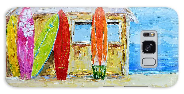 Surf Board Rental Shack At The Beach - Modern Impressionist Palette Knife Work Galaxy Case