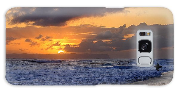 Surfer At Sunset On Kauai Beach With Niihau On Horizon Galaxy Case