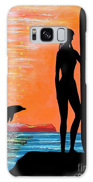 Surfer Girl With Dolphin Galaxy Case