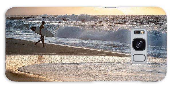 Surfer On Beach Galaxy Case