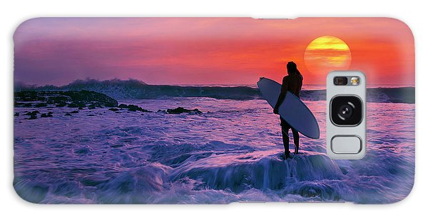 Surfer On Rock Looking Out From Blowing Rocks Preserve On Jupiter Island Galaxy Case by Justin Kelefas
