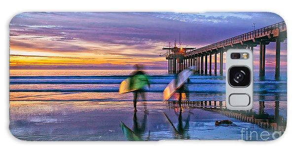 Surfers At Scripps Pier In La Jolla California Galaxy Case