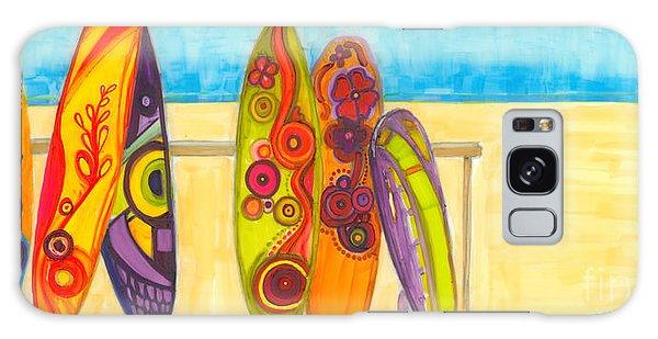 Surfing Buddies - Surf Boards At The Beach Illustration Galaxy Case