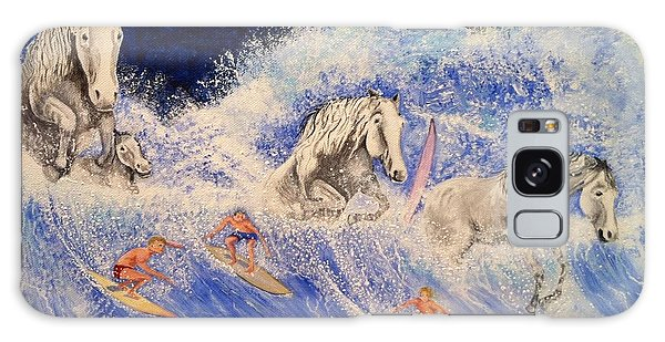Surfing Horses Galaxy Case