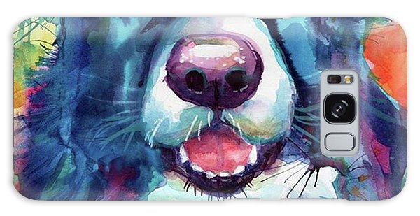 Follow Galaxy Case - Surprised Border Collie Watercolor by Svetlana Novikova