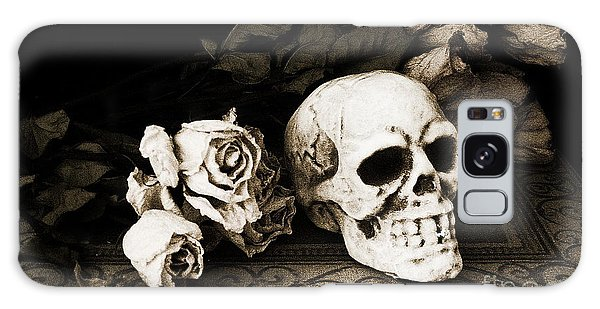 Surreal Gothic Dark Sepia Roses And Skull  Galaxy Case