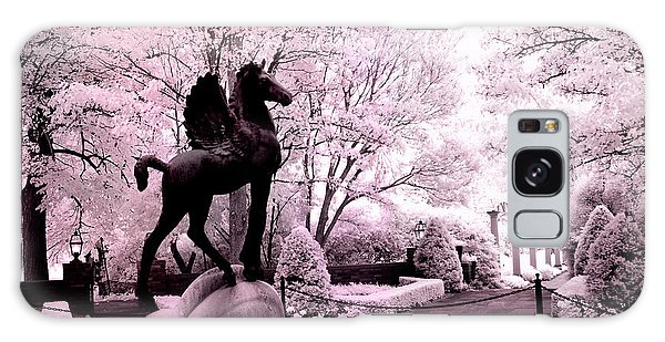 Surreal Infared Pink Black Sculpture Horse Pegasus Winged Horse Architectural Garden Galaxy Case