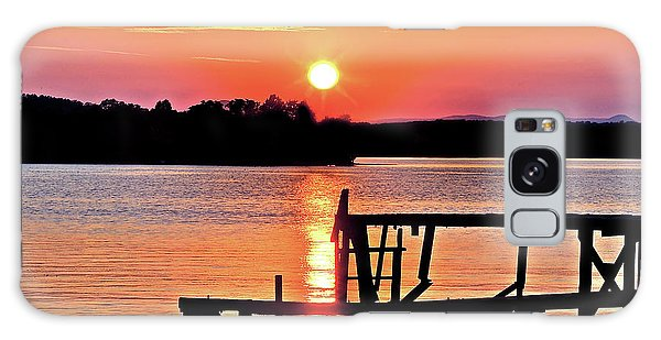 Surreal Smith Mountain Lake Dock Sunset Galaxy Case