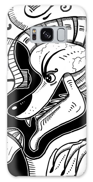 Surrealism Wolf Black And White Galaxy Case