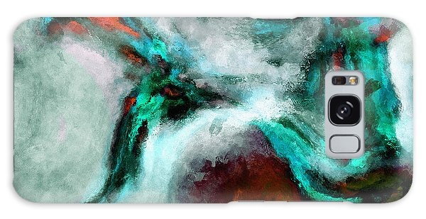 Surrealist And Abstract Painting In Orange And Turquoise Color Galaxy Case by Ayse Deniz