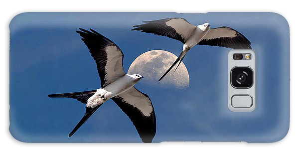 Swallow Tail Kites In Flight Under Moon Galaxy Case