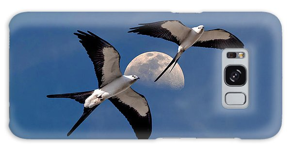 Swallow Tail Kites In Flight Under Moon Galaxy Case by Justin Kelefas