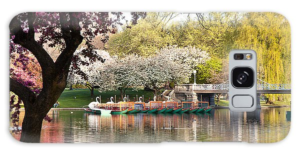 Swan Boats With Apple Blossoms Galaxy Case by Susan Cole Kelly