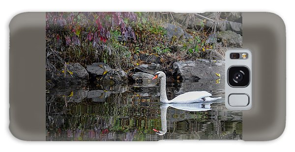 Swan In Autumn Reflections Galaxy Case