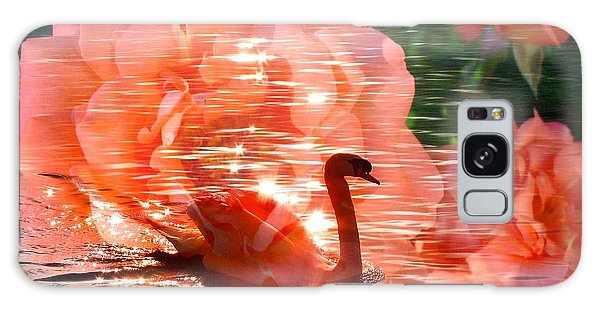Swan In Lake With Orange Flowers Galaxy Case