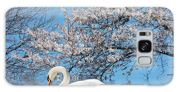 Swan Under The Spring Trees  Galaxy Case by Elaine Manley