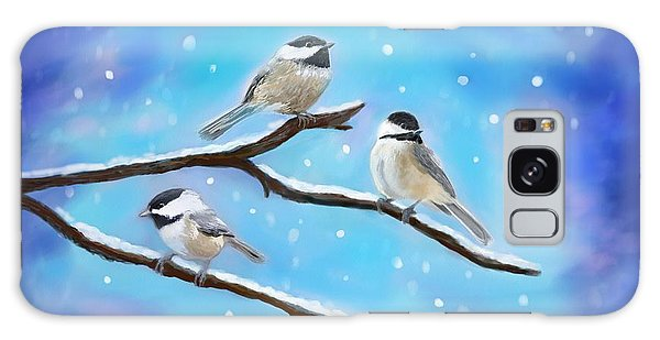 Galaxy Case featuring the painting Sweetest Winter Birdies by Leslie Allen