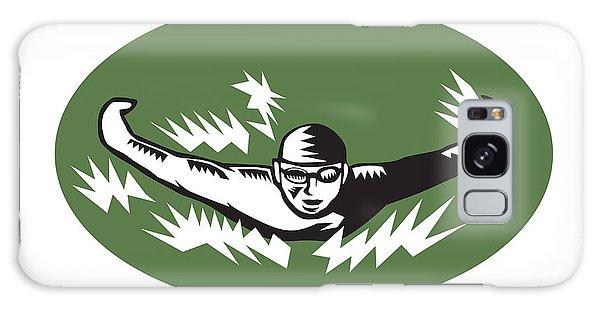 Sportsman Galaxy Case - Swimmer Butterfly Stroke Swimming Woodcut by Aloysius Patrimonio