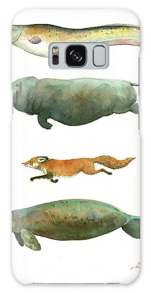 Hippopotamus Galaxy S8 Case - Swimming Animals by Juan Bosco