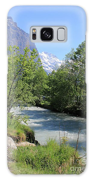 Switzerland Valley With Alps And River In Spring Galaxy Case