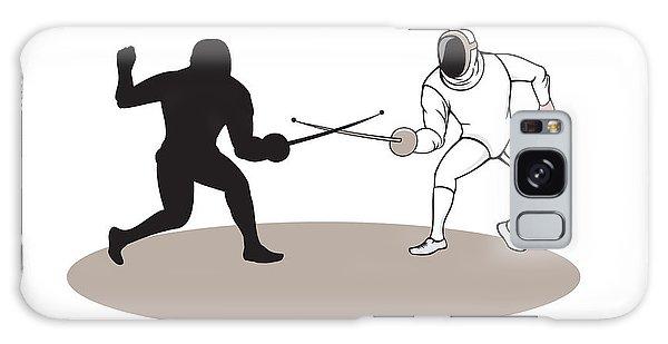 Sportsman Galaxy Case - Swordsmen Fencing Isolated Cartoon by Aloysius Patrimonio