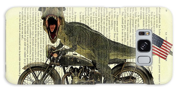 Harley Galaxy Case - T Rex Riding His Harley, Dictionary Print by Madame Memento