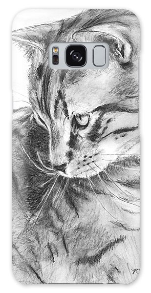 Tabby Cat In Profile Drawing Galaxy Case by Kate Sumners