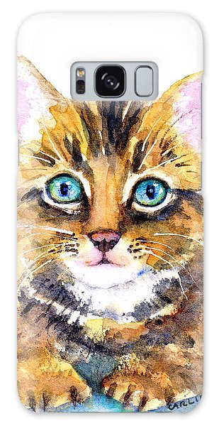 Watercolor Pet Portraits Galaxy Case - Tabby Kitten Watercolor by Carlin Blahnik CarlinArtWatercolor