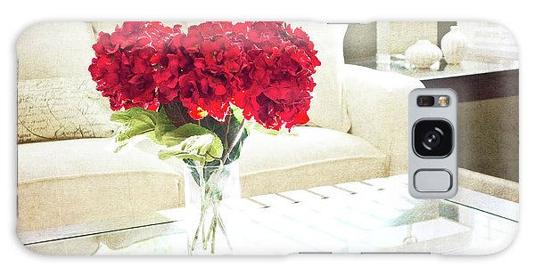 Table With Red Flowers Galaxy Case
