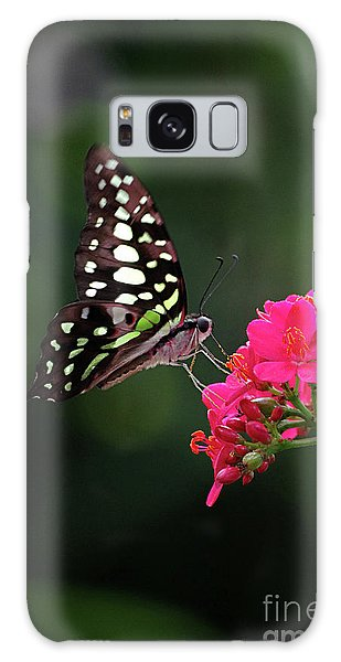Tailed Jay Butterfly -graphium Agamemnon- On Pink Flower Galaxy Case