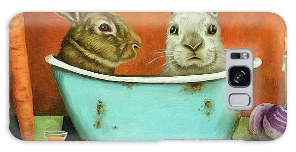 Tale Of Two Bunnies Galaxy Case by Leah Saulnier The Painting Maniac