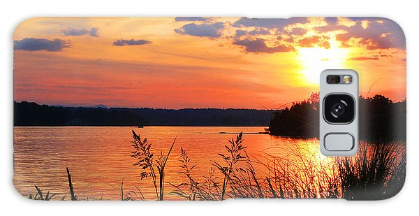 Tall Grass Sunset Smith Mountain Lake Galaxy Case by The American Shutterbug Society