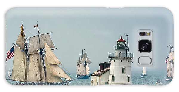 Tall Ships At Cleveland Lighthouse Galaxy Case