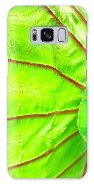 Taro Leaf Close Up In Green Galaxy Case