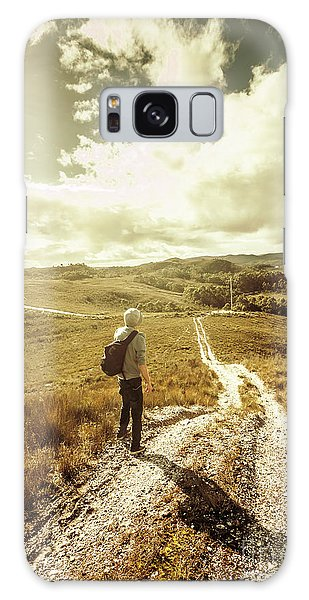 Ecosystem Galaxy Case - Tasmanian Man On Road In Nature Reserve by Jorgo Photography - Wall Art Gallery