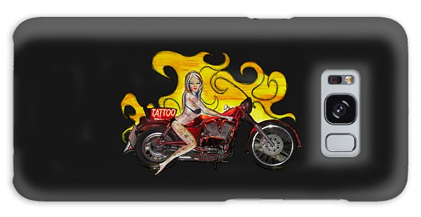 Tattoo Pinup Girl On Her Motorcycle Galaxy Case