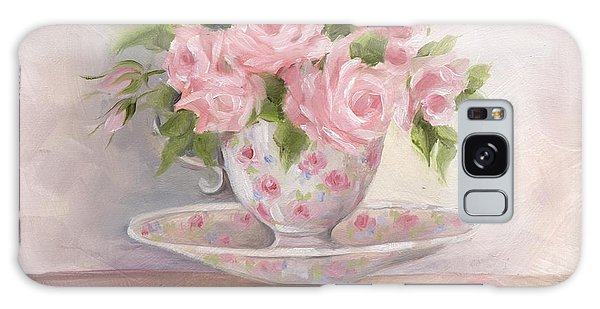 Teacup And Saucer Rose Shabby Chic Painting Galaxy Case