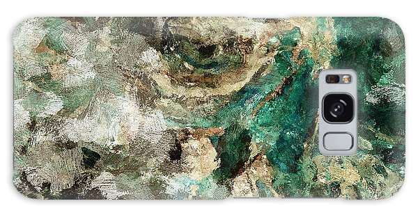 Teal And Cream Abstract Painting Galaxy Case by Ayse Deniz