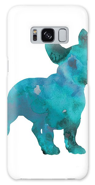 French Galaxy Case - Teal Frenchie Abstract Painting by Joanna Szmerdt