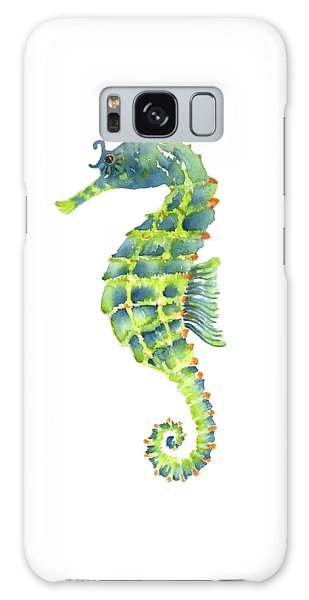 Teal Green Seahorse Galaxy Case by Amy Kirkpatrick