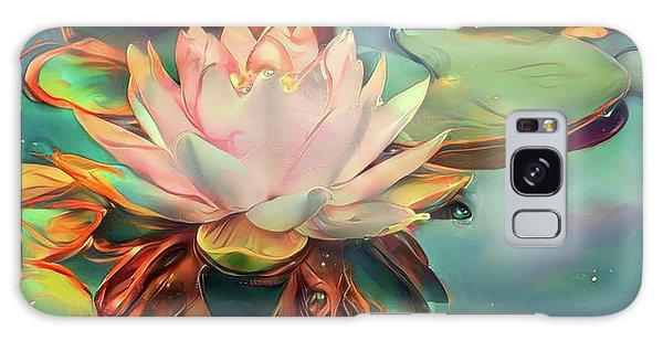 Teal Waterlilies 12 Galaxy Case