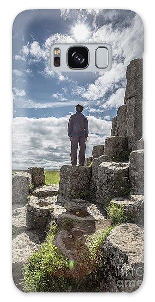 Galaxy Case featuring the photograph Teen Boy Standing On Basalt Rocks by Edward Fielding