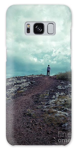Galaxy Case featuring the photograph Teenager On A Hiking Trail In Iceland by Edward Fielding