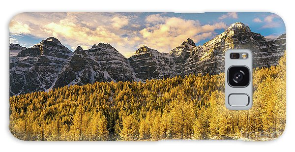 Moraine Lake Galaxy Case - Ten Peaks Canadian Rockies And Golden Fall Larch Colors by Mike Reid