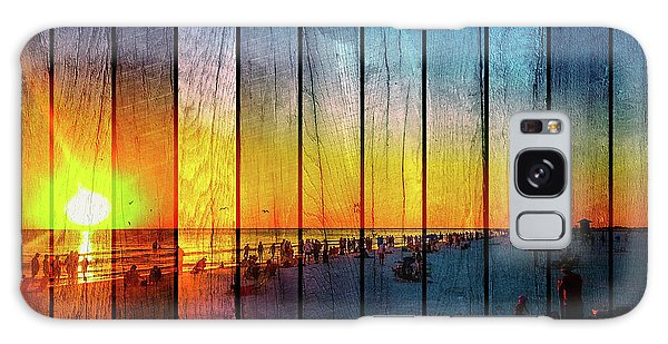 Siesta Key Drum Circle Sunset - Wood Plank Look Galaxy Case