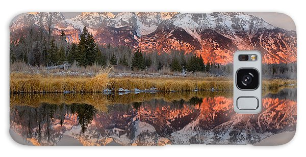 Teton Mountains Sunrise Rainbow Galaxy Case by Adam Jewell