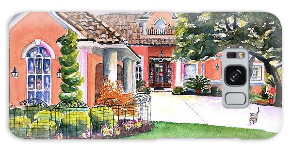 Watercolor Pet Portraits Galaxy Case - Texas Home Spanish Tuscan Architecture  by Carlin Blahnik CarlinArtWatercolor